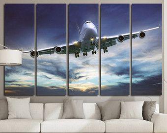 Airplane Wall Art Canvas Set Aviation Art Aircraft Wall Etsy Airplane Wall Art Plane Wall Art Aircraft Wall Decor