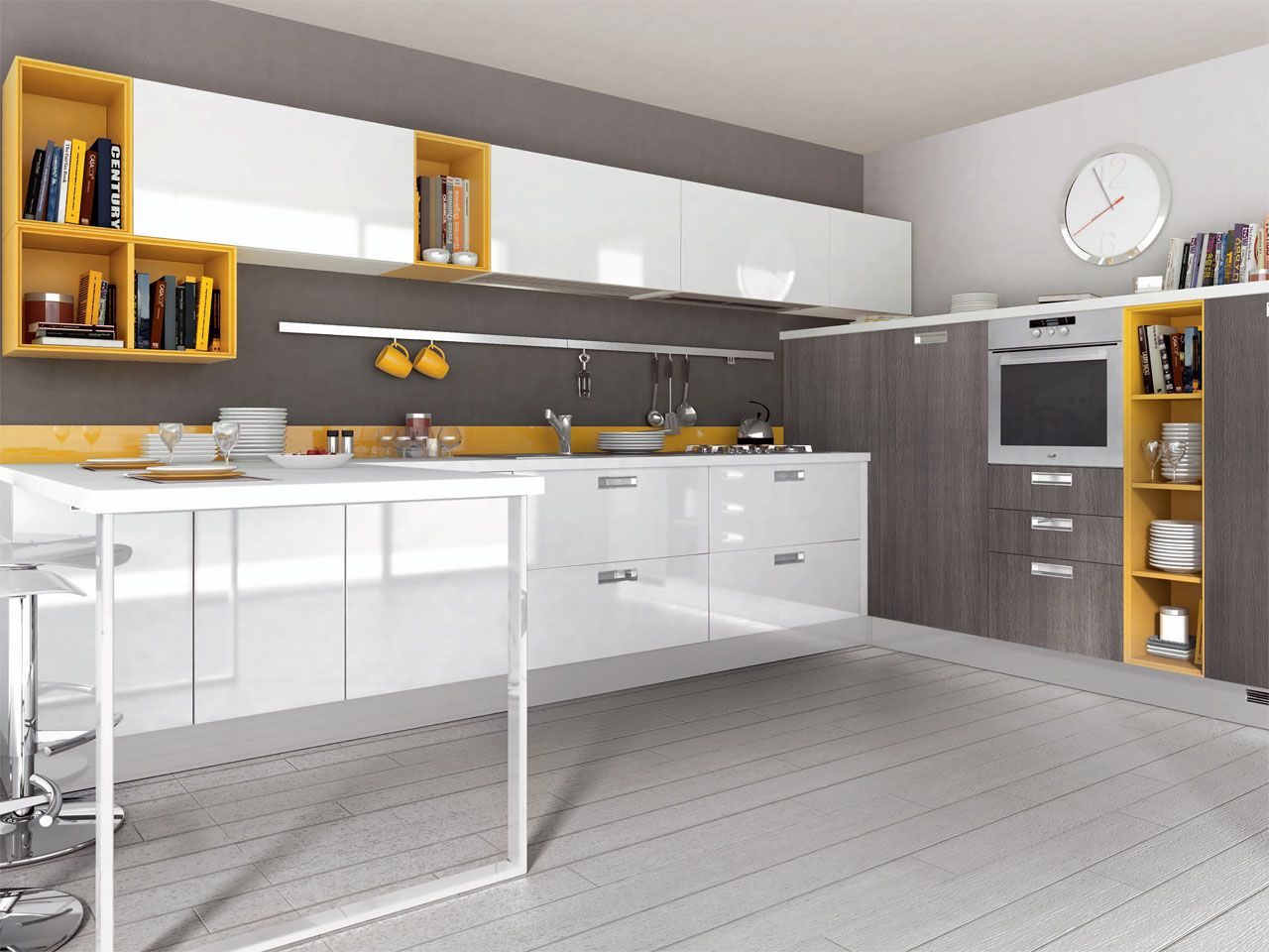 Yellow and gray is all the rage these days would you for Maniglie cucina lube