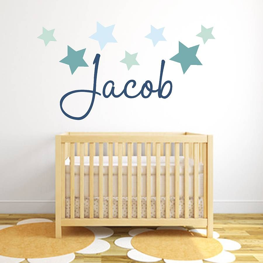 baby boy nursery wall stickers notonthehighstreet stars crown ...