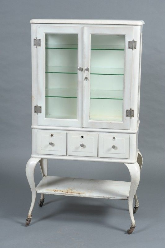 Antique White Metal Medical Cabinet