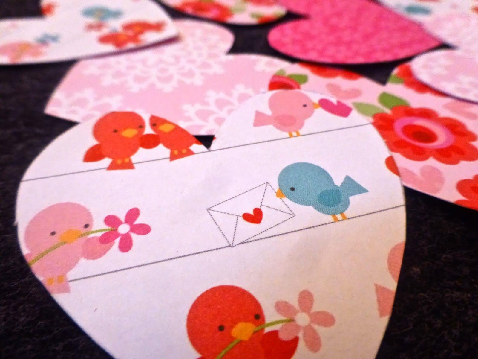 DIY: Coeurs en papier cousus for Valentine's day! Love Birds paper http://bricartbrac.blogspot.fr/