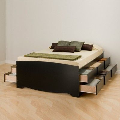 12 Drawers Captain S Tall Queen Platform Storage Bed Black