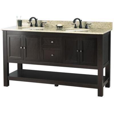 Vanity In Espresso With Golden Hill Granite Top White Double Bowl Gaea6022dtght At The Home Depot