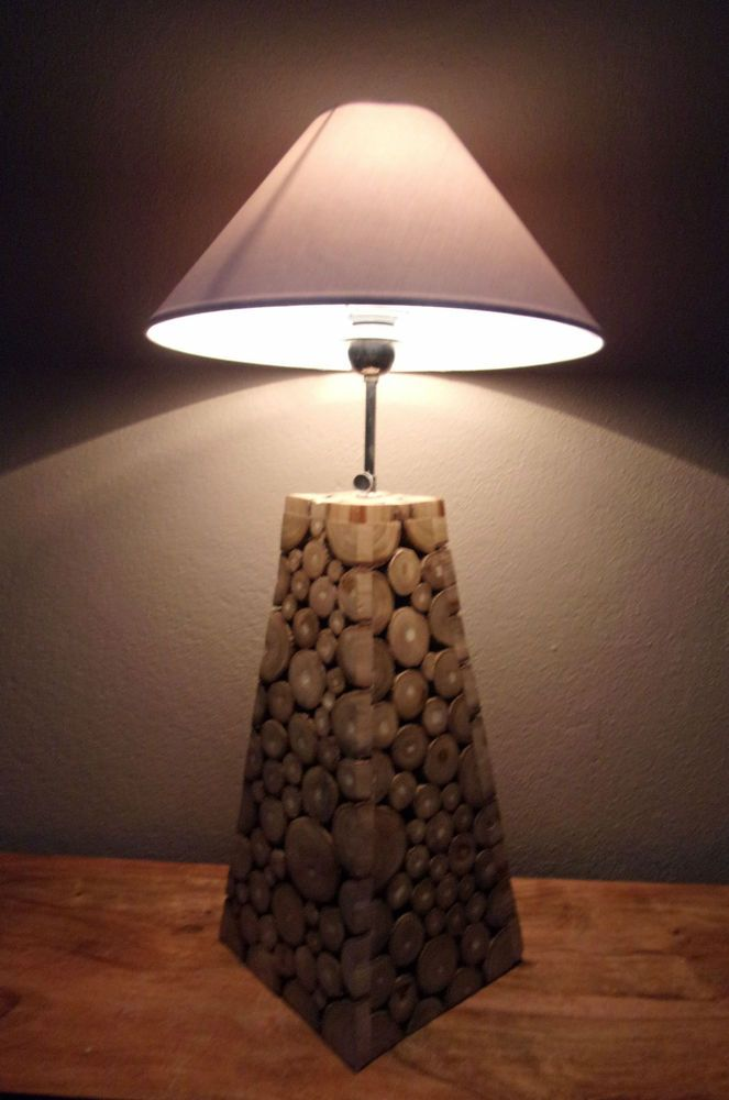 Unusual Wood Slice Pyramid Lamp Contemporary Hand Made