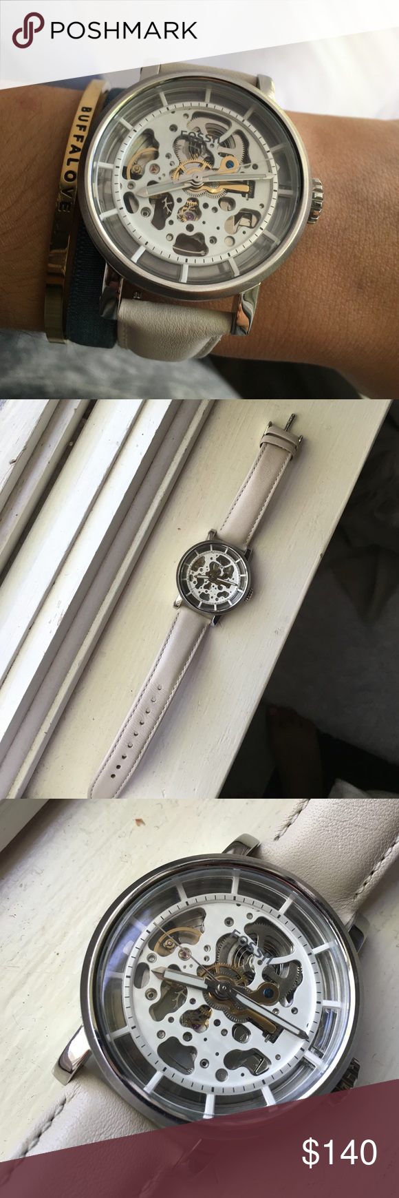 Fossil Mechanical Watch Just got this watch and I've only worn it a couple times! In great condition, leather is brand new and no scratches or marks on the watch, it is mechanical so no battery! Fossil Accessories Watches