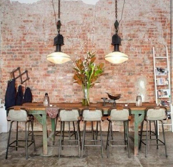 backsteinwand-imitat-wanddeko-selber-machen-ziegelwand-esszimmer, Garten ideen gestaltung