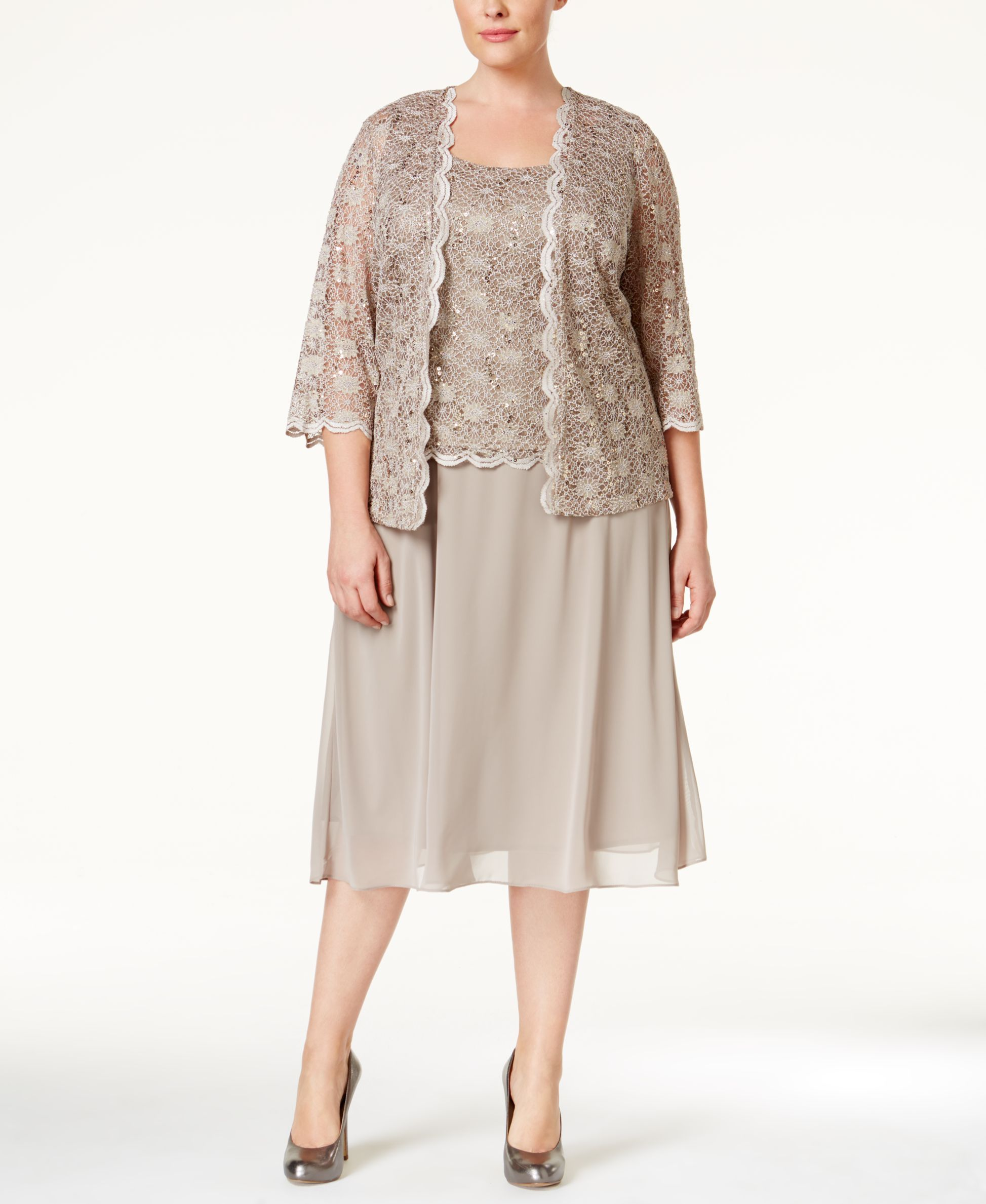 R M Richards Plus Size Sequined Lace Dress And Jacket