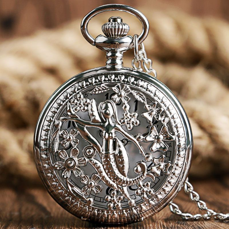 6f6e391fc9d Silver Flower Lady Pocket Watch Hollow Mermaid Women Necklace Gift Free  Shipping