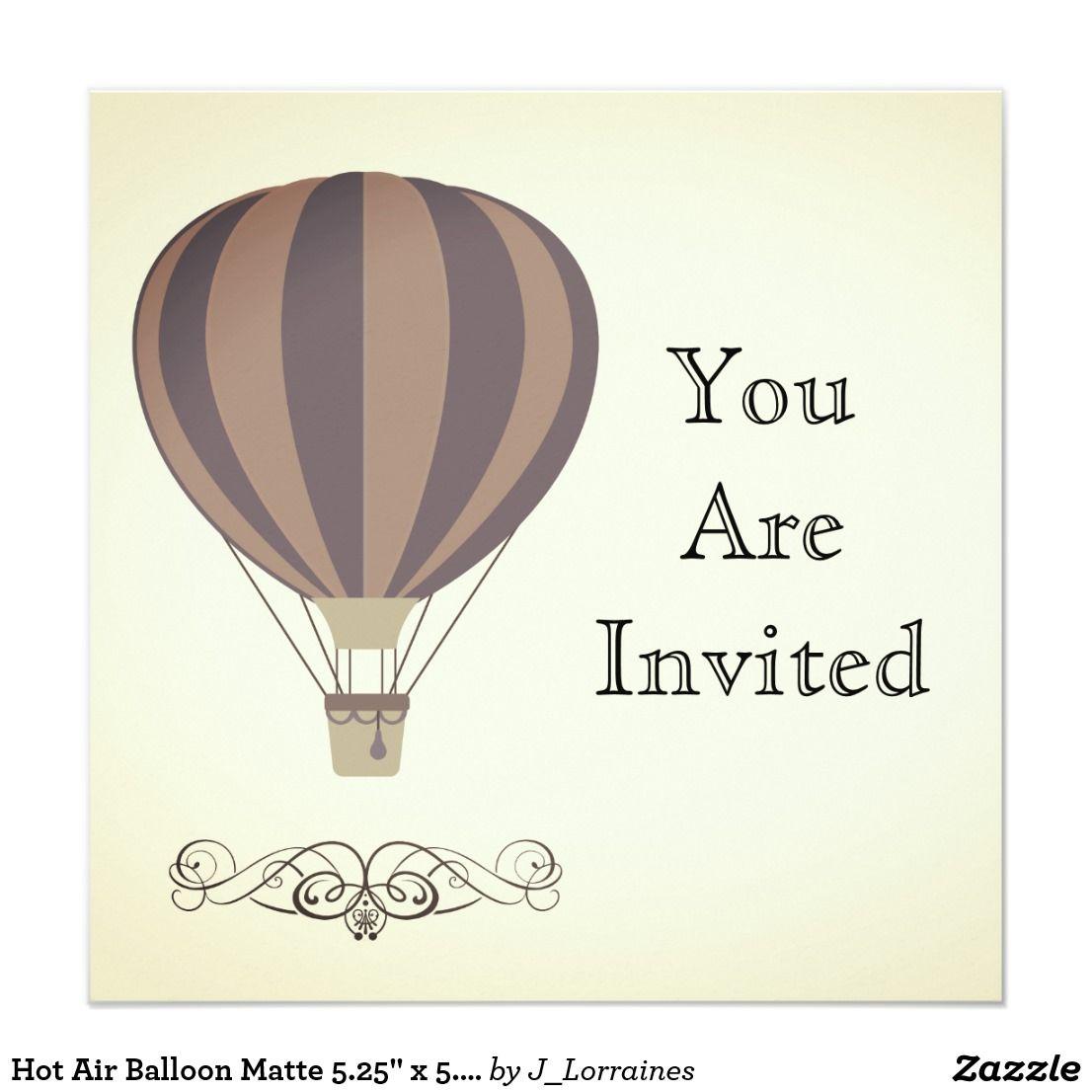 """Hot Air Balloon Matte 5.25"""" x 5.25 Invitation"""