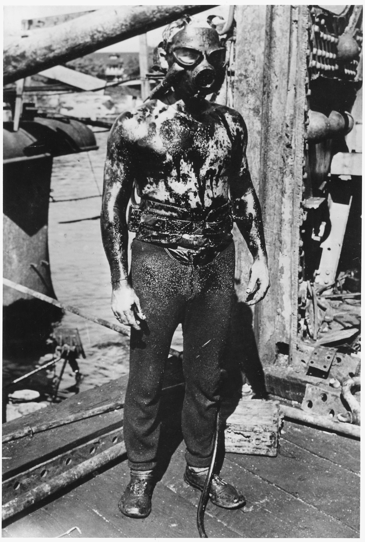 A Us Navy Frogman During World War 2