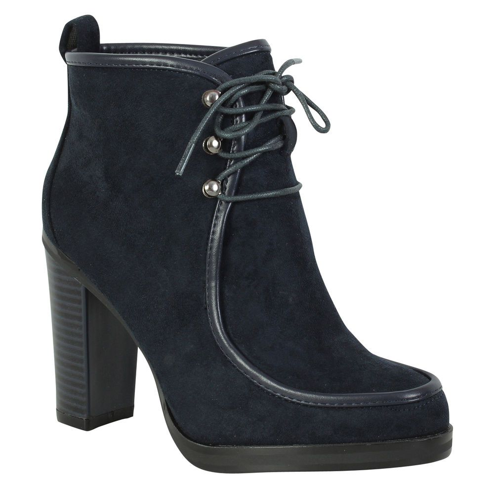 NEW LADIES BLACK BLOCK HEEL ZIP LACE UP BACK FAUX LEATHER WOMENS BOOTS SIZE 3-8