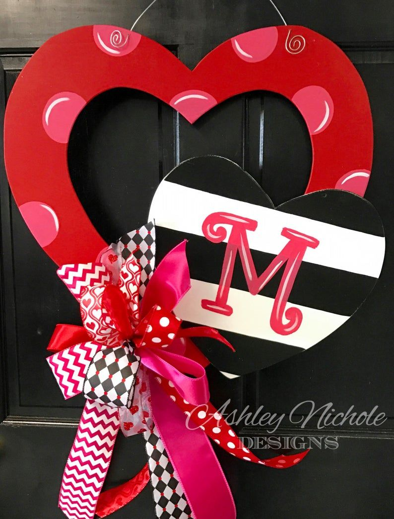 Double Heart Red, Valentine Heart Door Decor