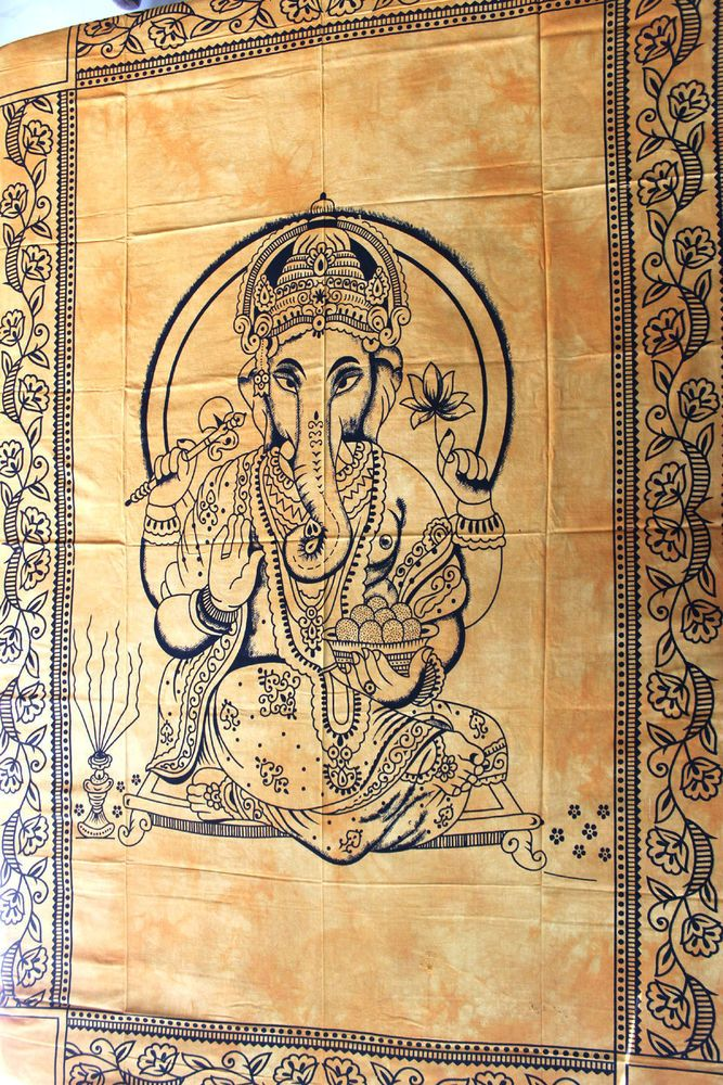Indian Goddess Ganesh Tapestry Hindu God Ethinic Wall Hanging Twin ...