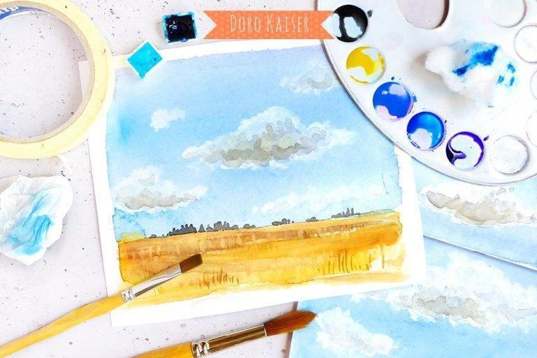 Malen Lernen Mit Aquarell Himmel Mit Wolken Doro Kaiser
