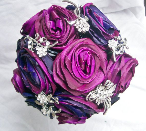 Pink Blue And Purple Flax Flower And Brooch By Fabulousflax 125 00 Flax Flowers Blue And Purple Bridal Brooch Bouquet