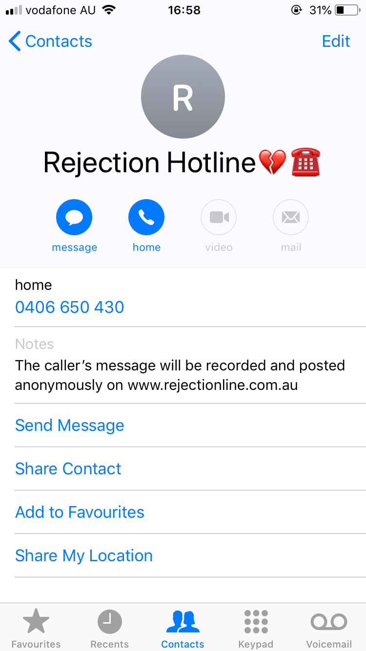 what is the rejection hotline number