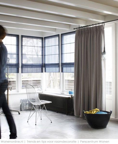 Modern Urban Interieur - Beige gordijnen, Vouwgordijnen en Raamdecoratie