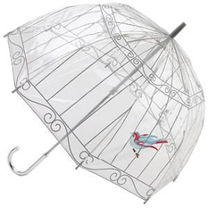 Classic, Chic And Whimsical Birdcage Umbrella Brightens A Rainy Day
