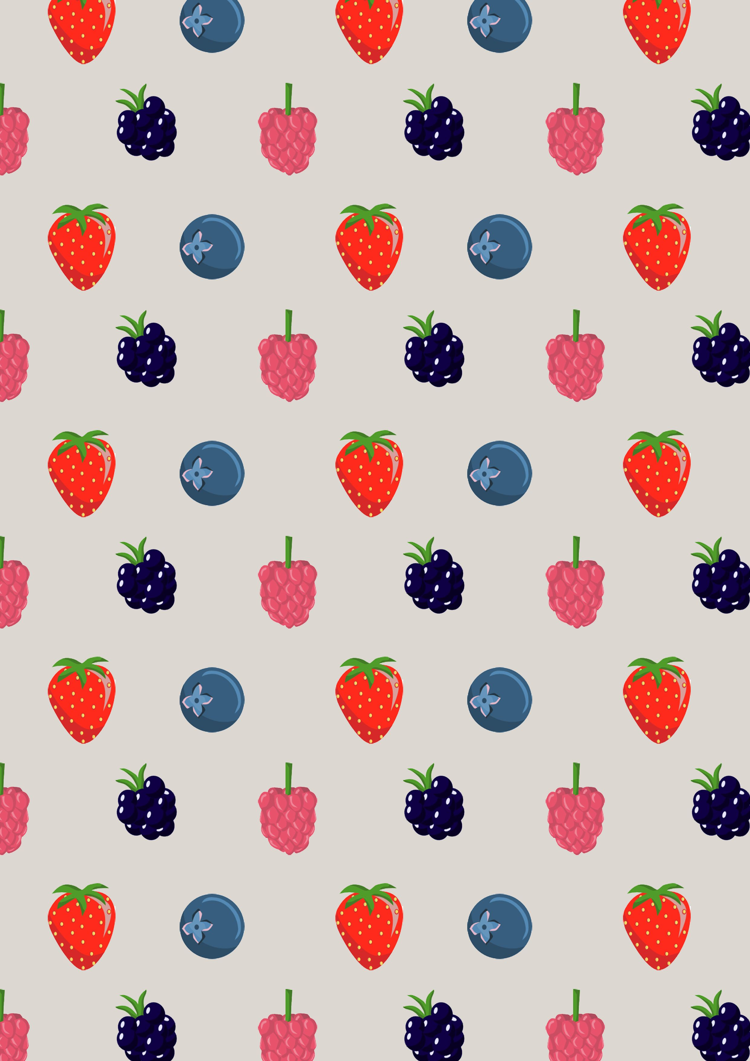 Merry berry print in grey tiled