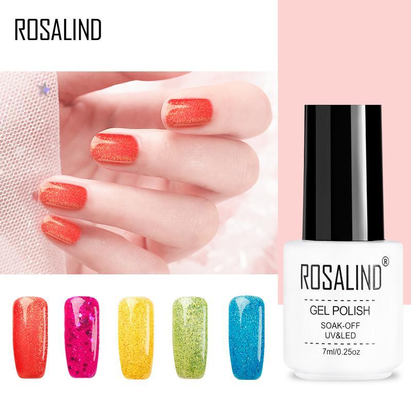 ROSALIND Gel 1 S Neue Ankunft Sommer Farbe UV Gel Nagellack Diamant Glitter Farbe Top Base Coat Benötigt gelpoliermittel 7 ML   – 7ml White Bottle Mini