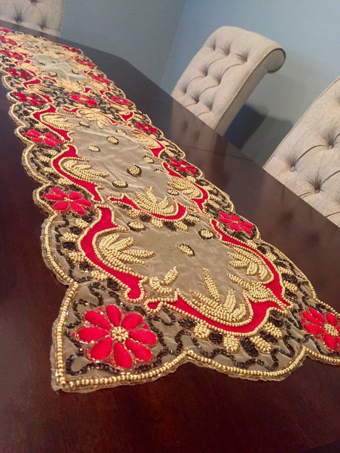 Beaded Table Runner, Sequin, Sequence, HAND BEADED Indian Red And Gold  Embroidered And