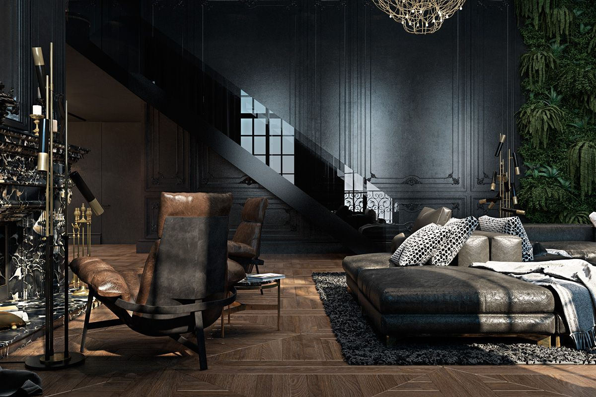 High ceilinged french doors take on prominence in black shaded mirrors adding sheen to the staircase a view from above shows detail in the wooden floor