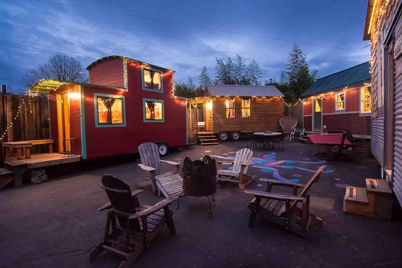 Caravan Lot At Dusk Tiny House Hotel Portland Oregon