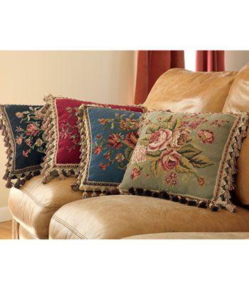 Pillows Rhapsody Rose Needlepoint PillowCountry CurtainsDIY