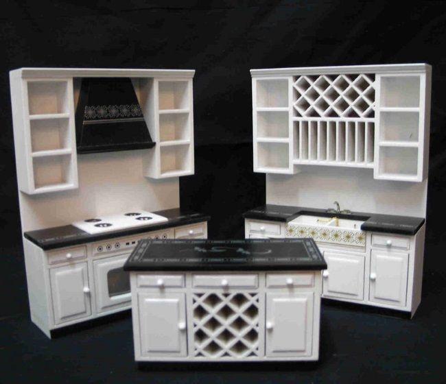 einbaukueche weiss edel modern 3 teile puppenhaus m bel. Black Bedroom Furniture Sets. Home Design Ideas