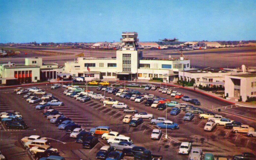 (c.1955) BURBANK AIRPORT California postcard, Burbank