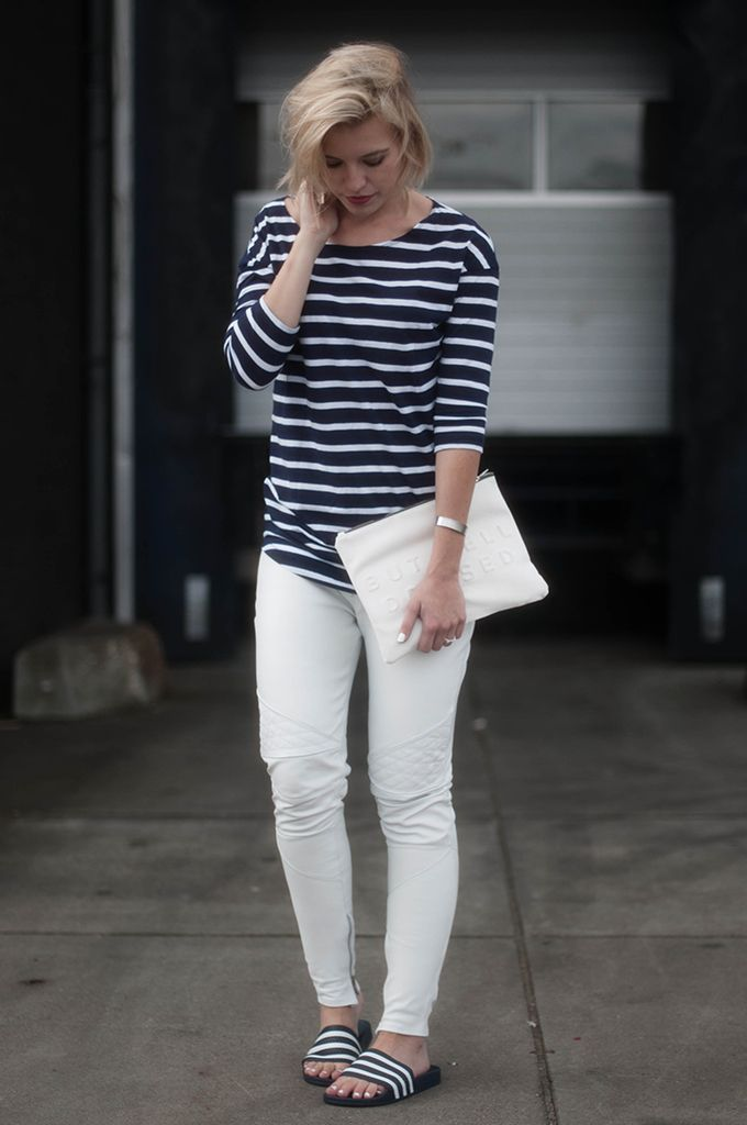 384dbdff710f RED REIDING HOOD  Fashion blogger wearing white leather pants street style  striped shirt model off duty look