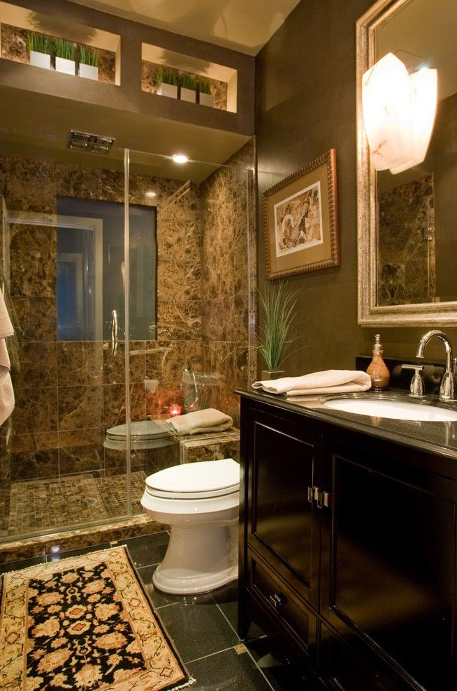 Outstanding Moroccan Bathroom Decor With Wood Drawers Molding