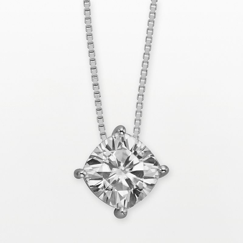 """Forever Brilliant 14k White Gold Cushion-Cut 2-ct. T.W. Lab-Created Moissanite Pendant, Women's, Size: 18"""""""