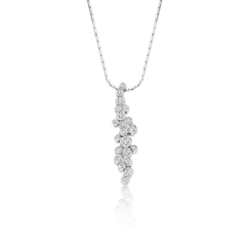 Ct white gold brilliant cut diamond pendant wharton goldsmith