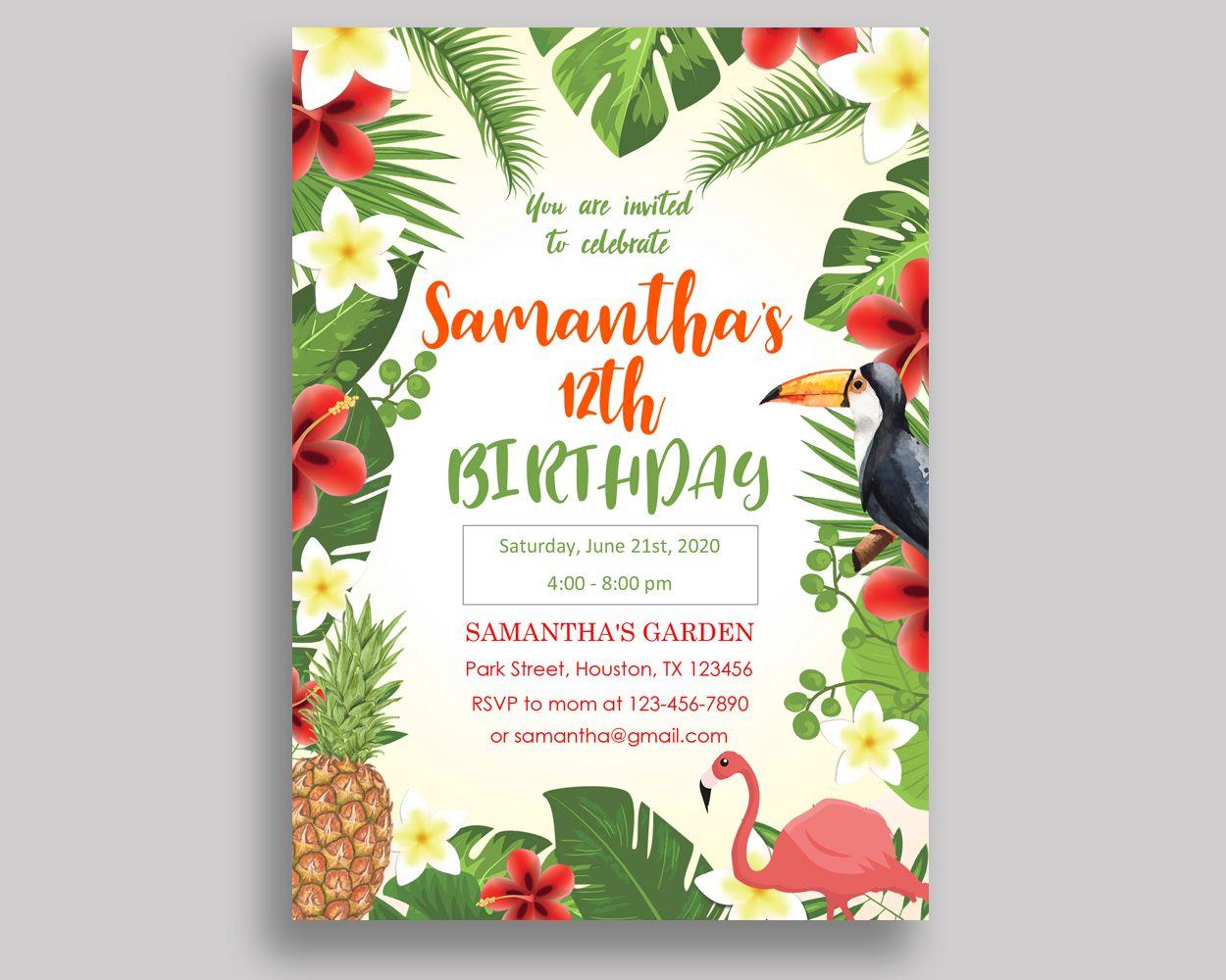 Tropical Birthday Invitation Tropical Birthday Party Invitation ...
