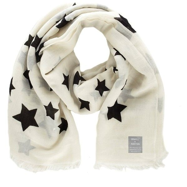 Orwell + Austen Cashmere - Oversized Black & White Star Scarf (€110) ❤ liked on Polyvore featuring accessories, scarves, black and white scarves, oversized scarves, black and white shawl and wrap shawl