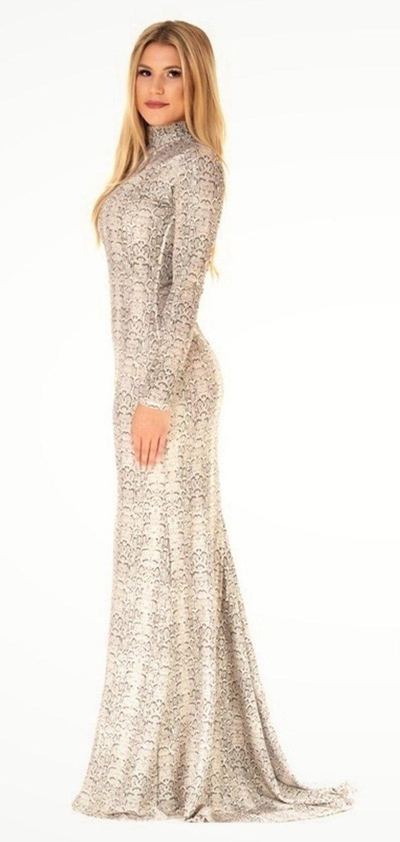 Maxi Bodycon With Train Champagne Dress Long Sleeves Mock Etsy Champagne Dresses Long Mock Neck Bodycon Dress Dresses [ 1673 x 794 Pixel ]
