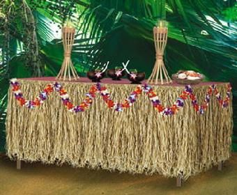 table grass skirt with lays garland - Luau Decorations