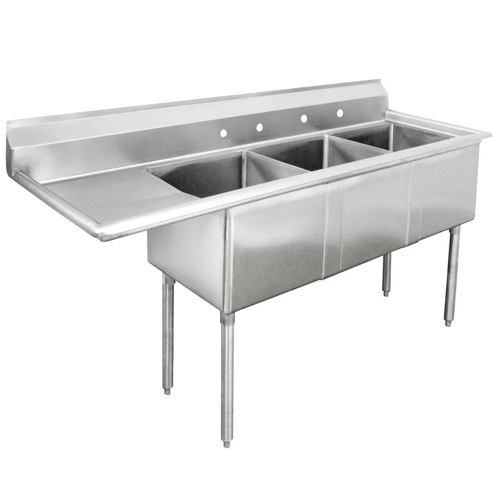 Wash Rinse And Sanitize Dishes Simultaneously With The Advance Tabco Fe 3 2424 24 X Three Compartment Stainless Steel Comm Commercial Sink Advance Tabco Sink
