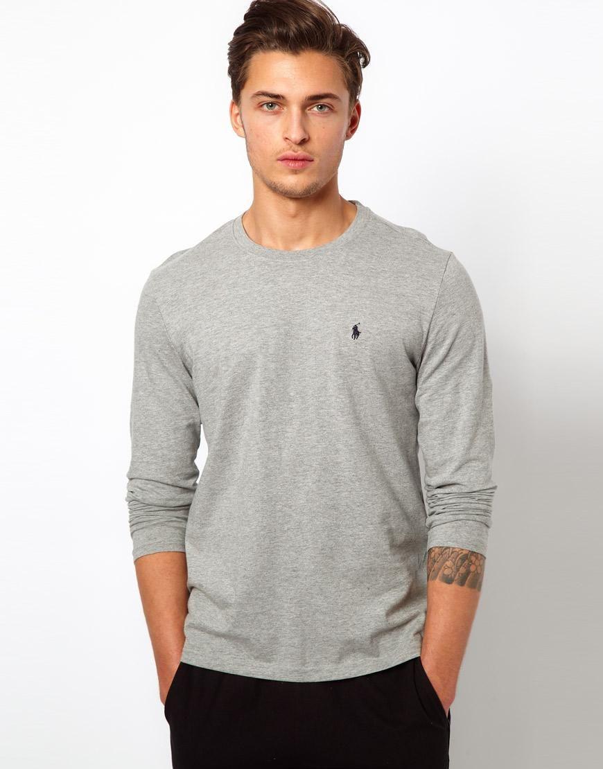 Polo Ralph Lauren Grey Long Sleeve Top Regular Fit at asos.com