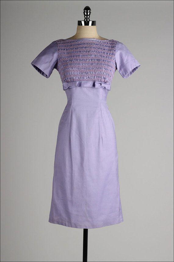 vintage 1950s dress . lilac smocked