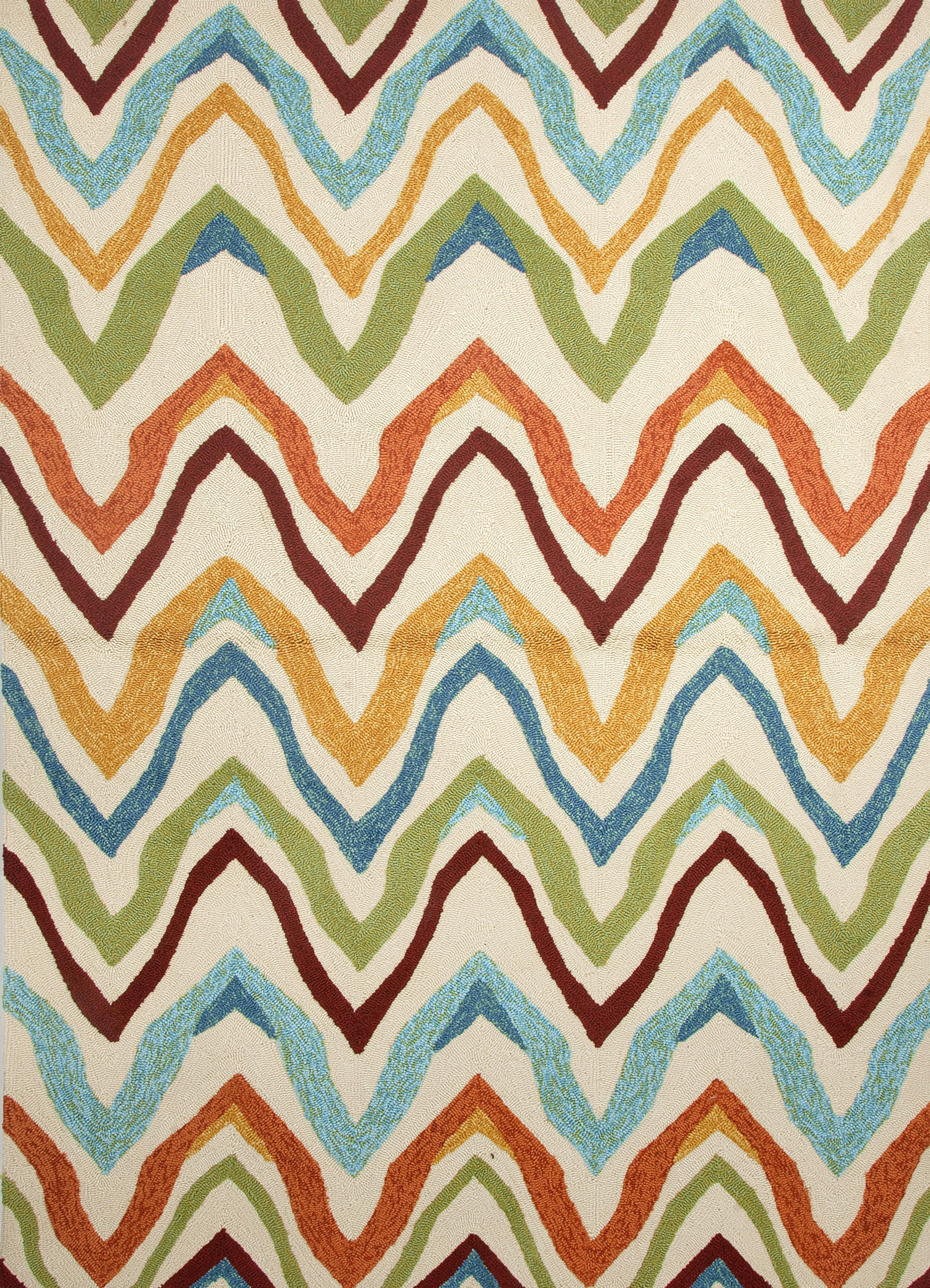 Features Multi Colored Chevron Design Against A Dark Ivory Background Polypropylene