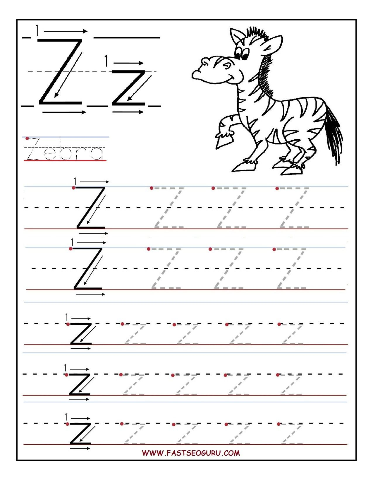 worksheet Letter Z Worksheet printable letter z tracing worksheets for preschool kids preschool