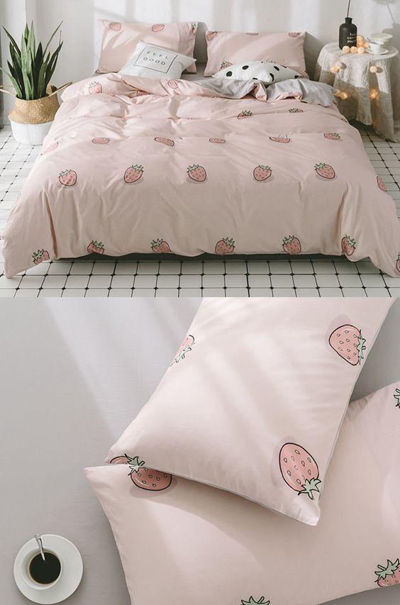 Pink Bedding Set Cute Duvet Bedding Set Strawberry Printed ...