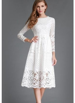 343eea3cb161 Solid Lace Long Sleeve Midi A-line Dress - Floryday   floryday.com ...