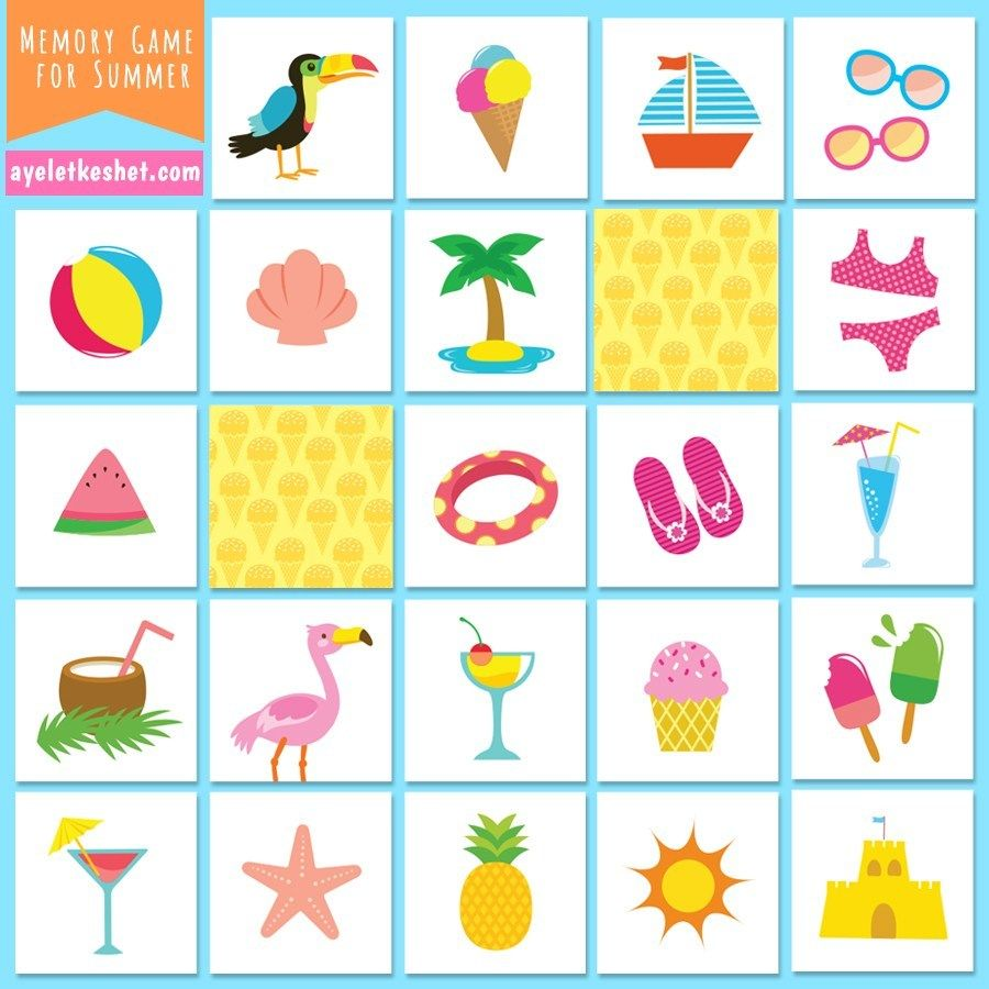 Free printable memory game for kids with pictures for