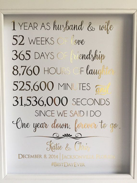 First 1st Anniversary Gift For Husband Or Wife Customizable Real Gold Foil Print Paper