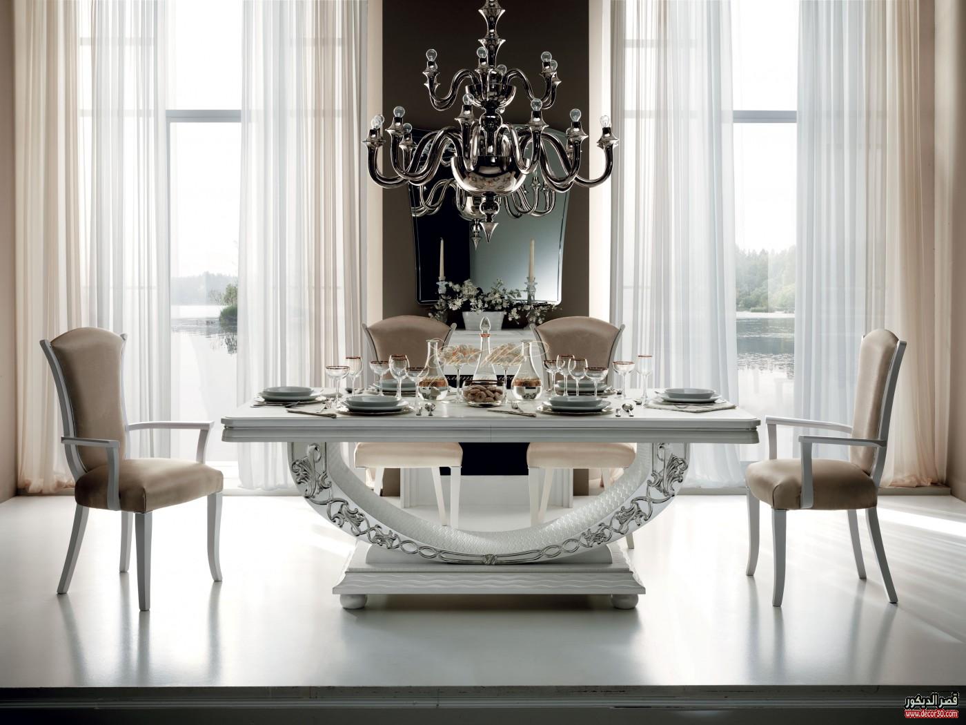 طاولات طعام صغيرة فخمة مودرن وكلاسيك قصر الديكور Glass Dining Room Furniture Elegant Dining Room Modern Dining Room