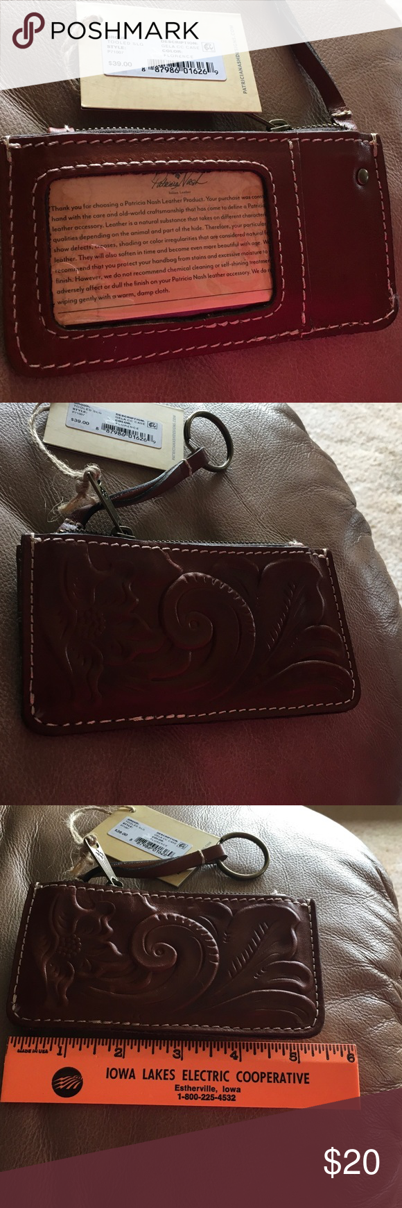 Patricia Nash key chain & coin purse Beautiful tooled Italian Leather. See measurements in photos Patricia Nash Accessories Key & Card Holders