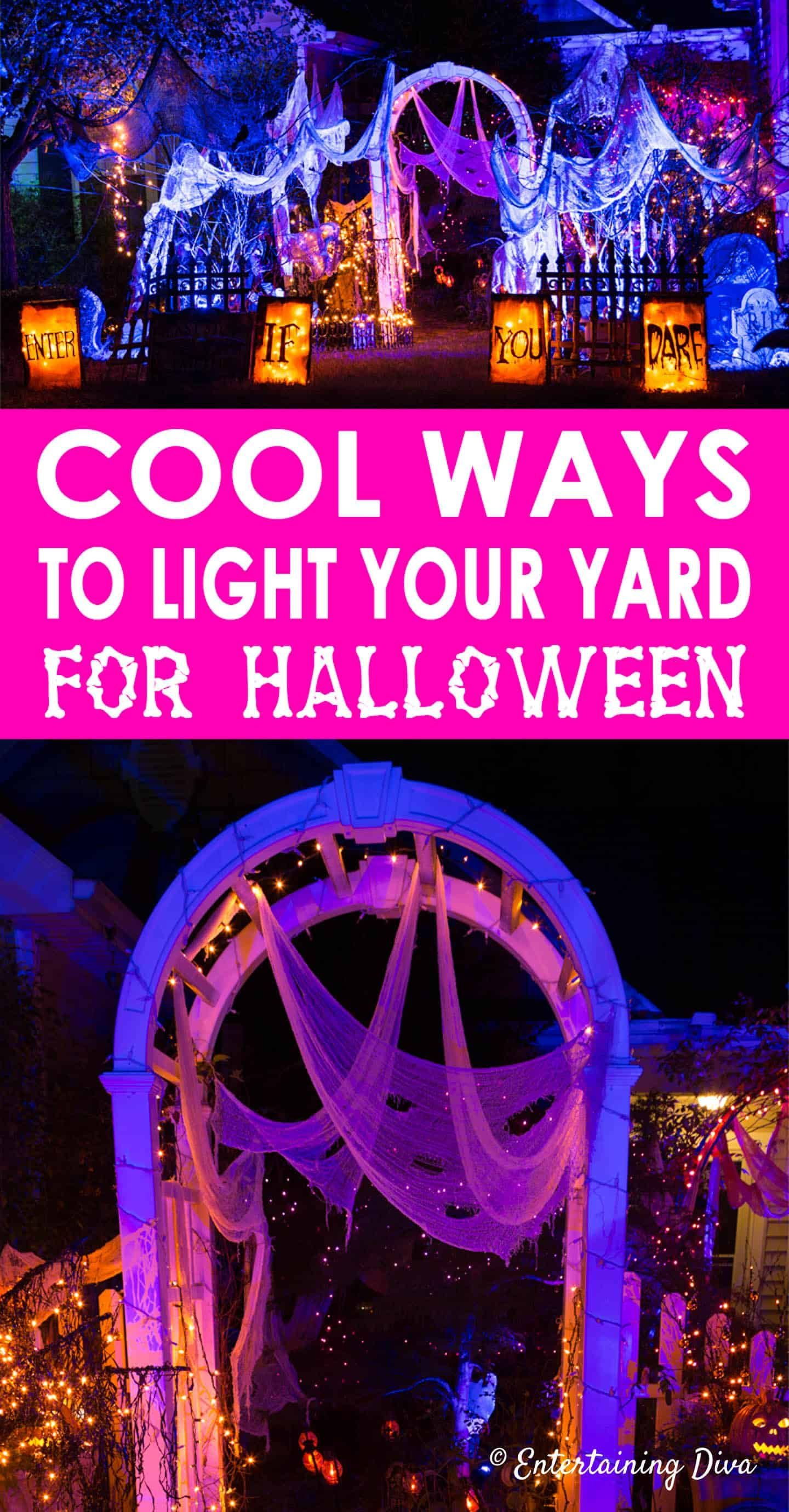 Halloween Outdoor Lighting Ideas: 18 Spooky Ways To Light Your Yard - Entertaining Diva @ From House To Home